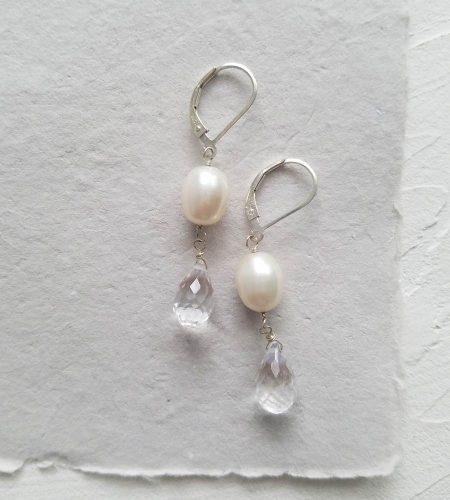 Freshwater pearl and gemstone teardrop earrings from Carrie Whelan Designs