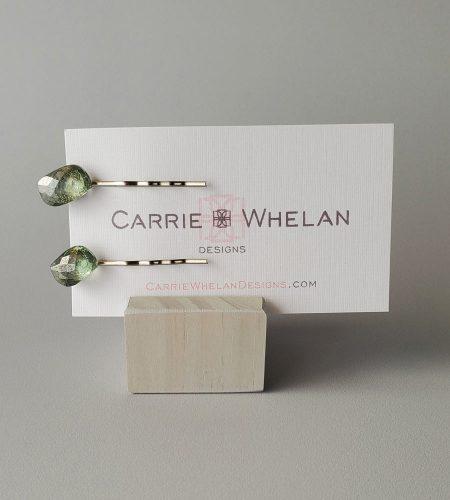 Green leaf gemstone bobby pins by Carrie Whelan Designs