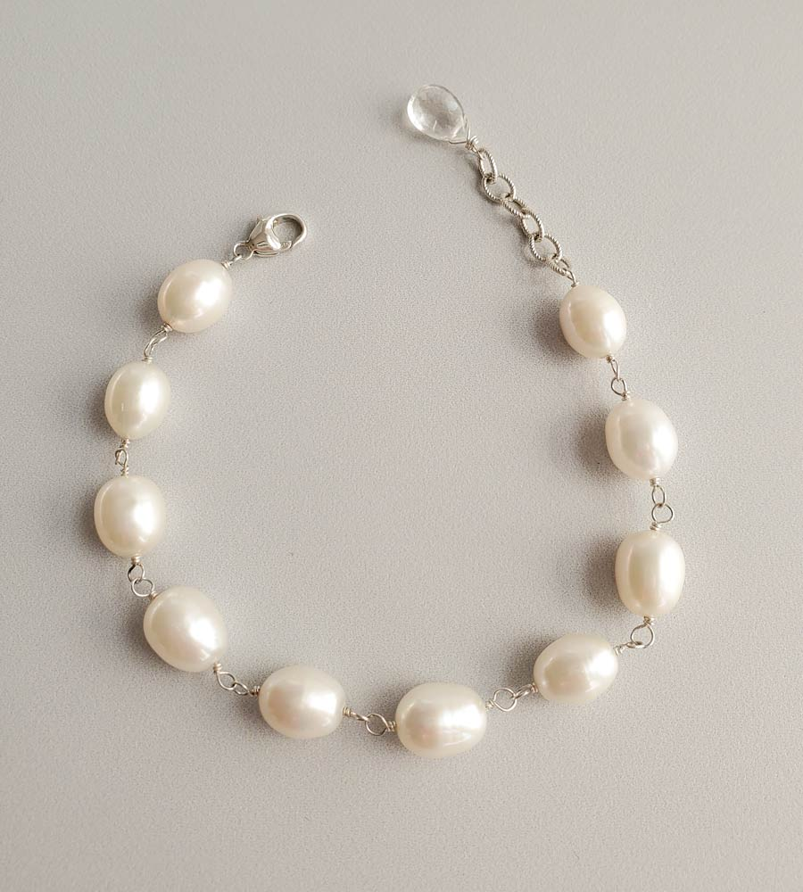 Handcrafted large freshwater pearl chain bracelet in sterling silver by Carrie Whelan Designs