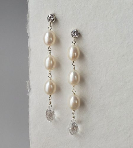Handcrafted pearl and teardrop statement earrings for bride by Carrie Whelan Designs