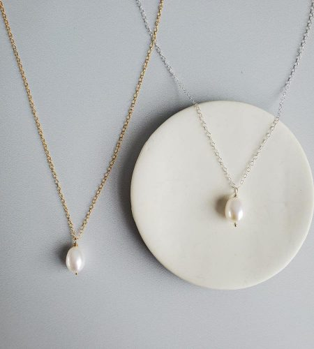Large freshwater pearl pendant in 14kt gold fill or sterling silver handcrafted by Carrie Whelan Designs