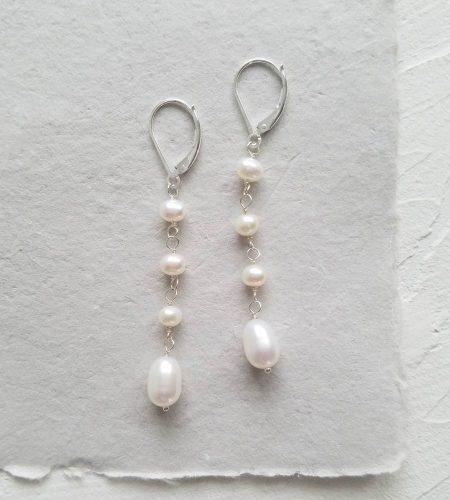 Linear freshwater pearl earrings handmade by Carrie Whelan Designs