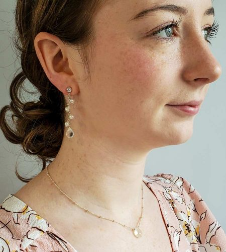 Handcrafted pearl dangle CZ post earrings by Carrie Whelan Designs