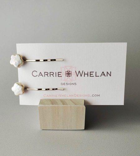 Pearl star bobby pin set handmade by Carrie Whelan Designs