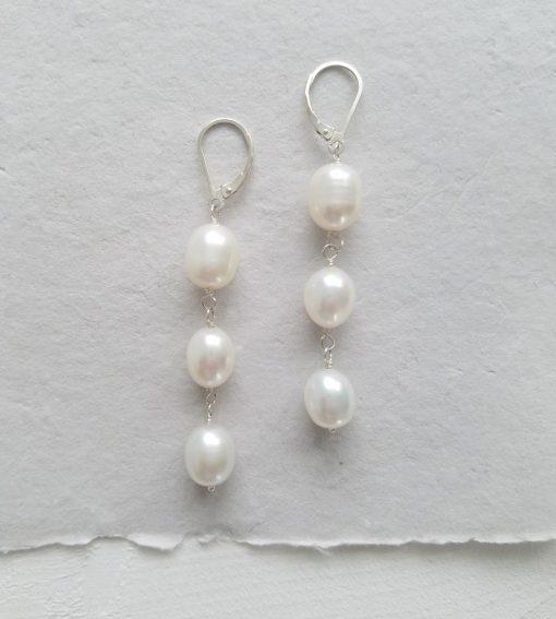 Triple drop large pearl earrings handmade by Carrie Whelan Designs