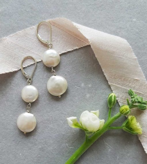 White coin pearl bridal earrings handcrafted by Carrie Whelan Designs