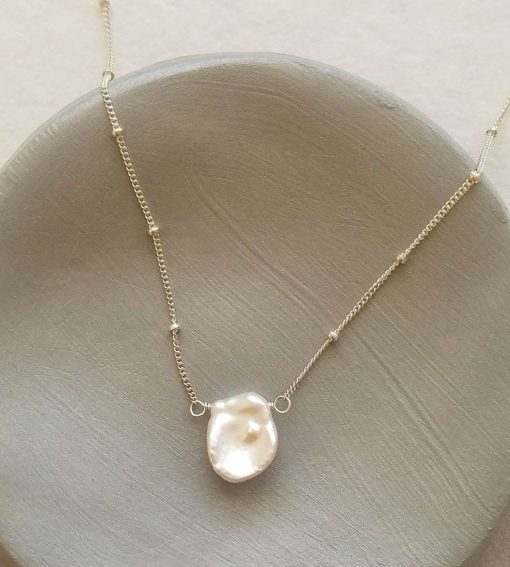 Keshi pearl choker necklace in silver handmade by Carrie Whelan Designs