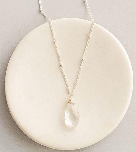 Rock quartz drop pendant necklace handmade by Carrie Whelan Designs