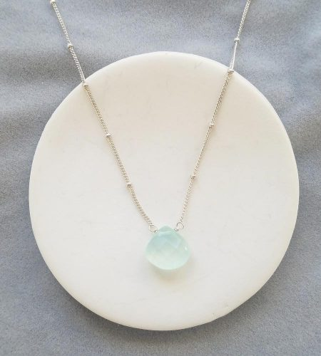 Aqua gemstone choker necklace in sterling silver by Carrie Whelan Designs handmade jewelry