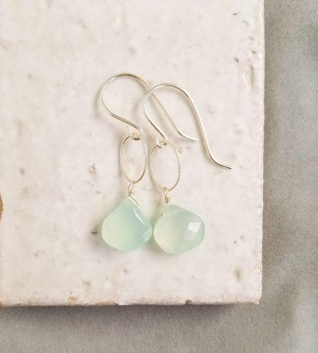 Aqua chalcedony teardrop earrings in silver by Carrie Whelan Designs delicate handmade jewelry