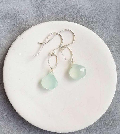 Aqua chalcedony teardrop earrings in sterling silver by Carrie Whelan Designs