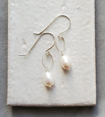 Oval pearl and silver earrings handmade by Carrie Whelan Designs