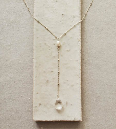 Clear gem drop silver Y-necklace handmade by Carrie Whelan Designs