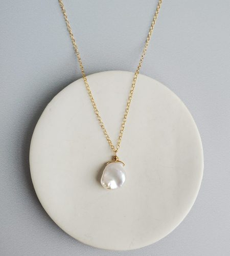 Delicate keshi pearl pendant necklace in 14kt gold fill handcrafted by Carrie Whelan Designs
