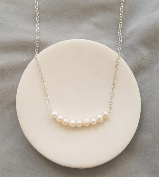Freshwater pearl bar necklace in sterling silver handmade by Carrie Whelan Designs