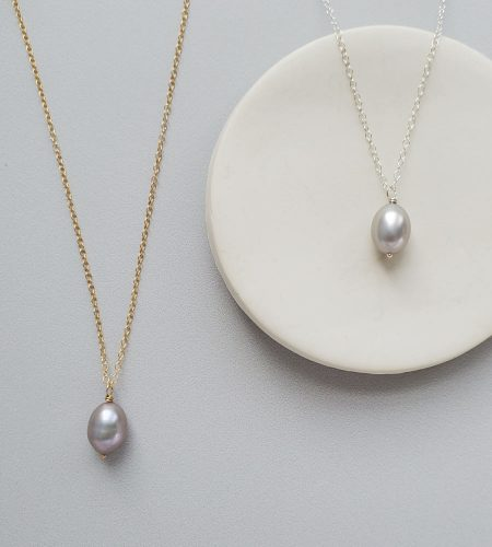 Gray freshwater pearl pendant in gold or silver by Carrie Whelan Designs