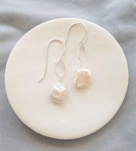 Keshi pearl earrings in sterling silver handmade by Carrie Whelan Designs