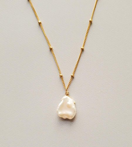 Keshi pearl gold pendant necklace handmade by Carrie Whelan Designs