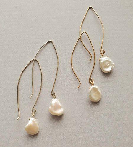 Keshi pearl long wire earrings handmade by Carrie Whelan Designs