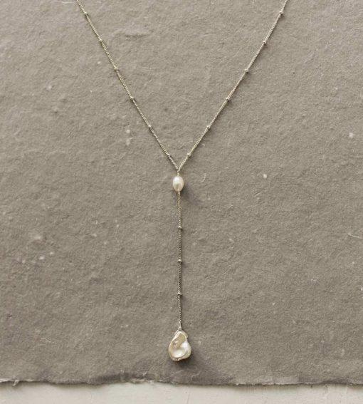 Keshi pearl silver Y necklace handmade by Carrie Whelan Designs