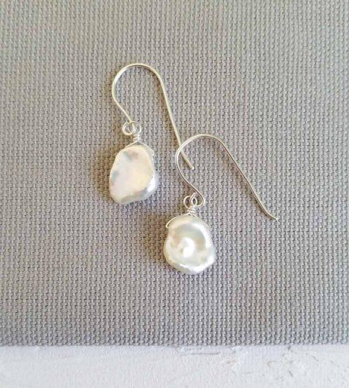 Handmade keshi pearl and silver earrings by Carrie Whelan Designs