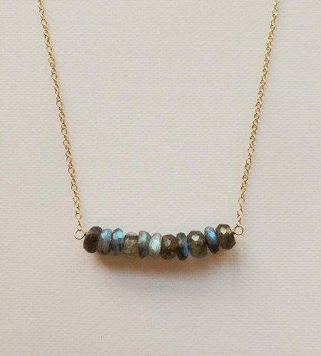 Labradorite 14kt gold Fill bar necklace handmade by Carrie Whelan Designs