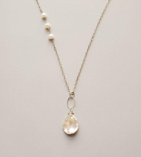 Long keshi pearl pendant necklace handmade by Carrie Whelan Designs