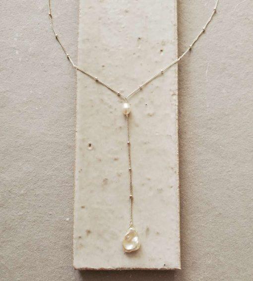 Keshi pearl Y necklace handmade by Carrie Whelan Designs