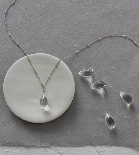 Rock quartz long gemstone layered necklace handmade by Carrie Whelan Designs