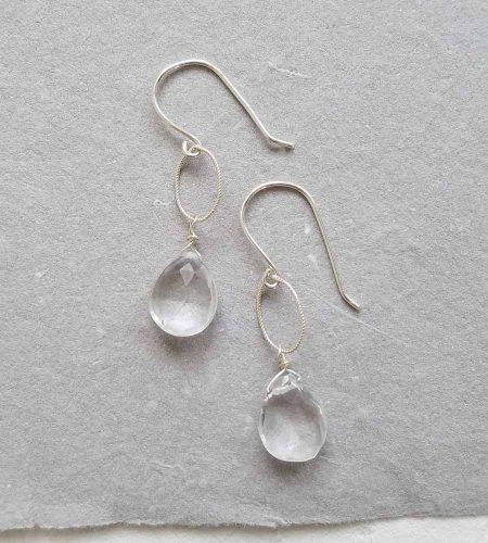 Rock quartz silver drop earrings handmade by Carrie Whelan Designs