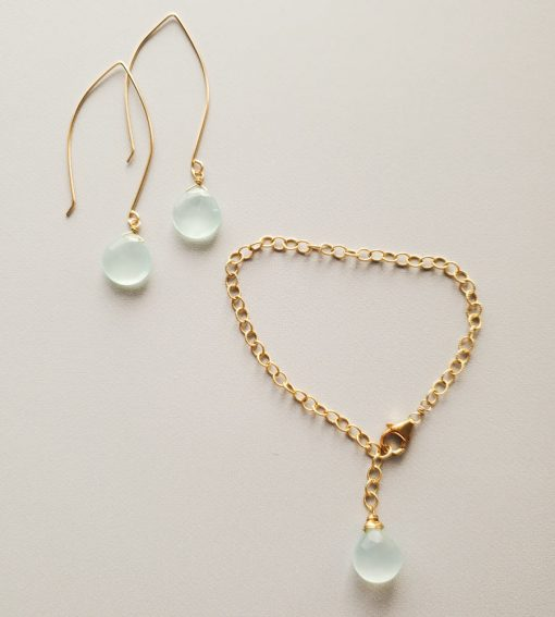 Aqua chalcedony 14kt gold fill jewelry handmade by Carrie Whelan Designs