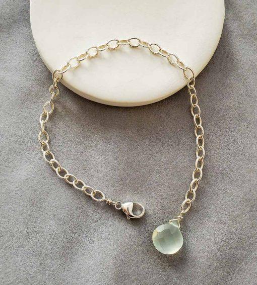 Aqua chalcedont sterling silver chain bracelet handmade by Carrie Whelan Designs