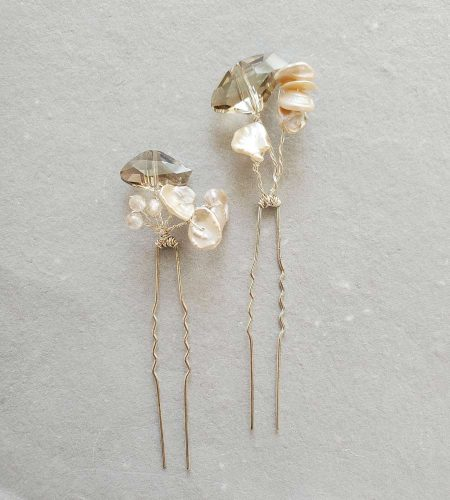 Crystal pearl hair pin for Mother of the Bride handmade by Carrie Whelan Designs