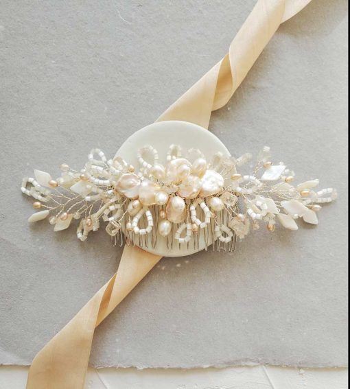 Elegant keshi pearl bridal hair comb by Carrie Whelan Designs