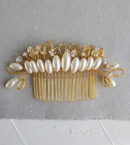 Handmade vintage crystal & pearl bridal hair comb by Carrie Whelan Designs