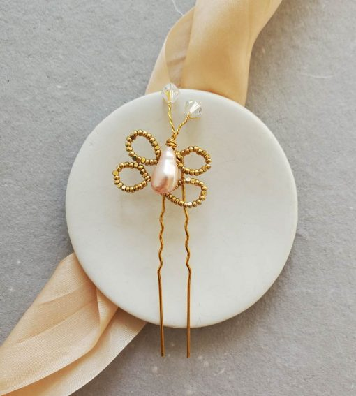Handmade butterfly hair pin for a flower girl by Carrie Whelan Designs