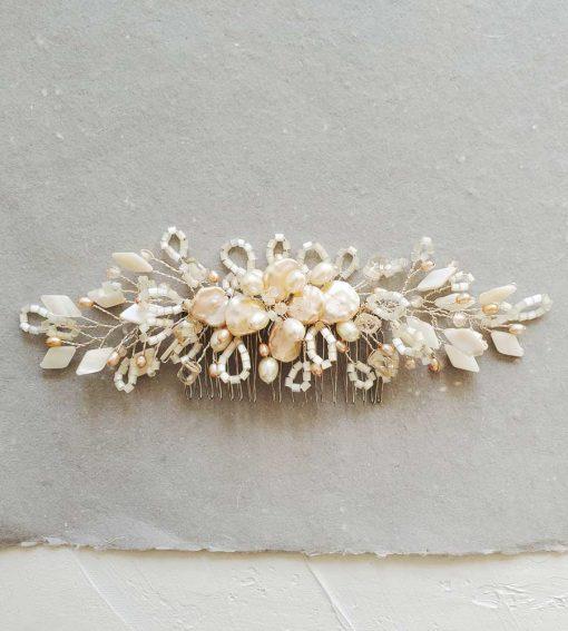 Handmade champagne keshi pearl bridal hair comb by Carrie Whelan Designs