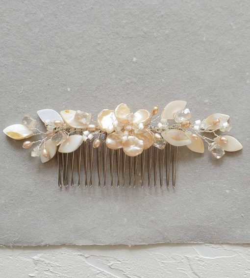 Peach floral bridal hair comb handmade by Carrie Whelan Designs
