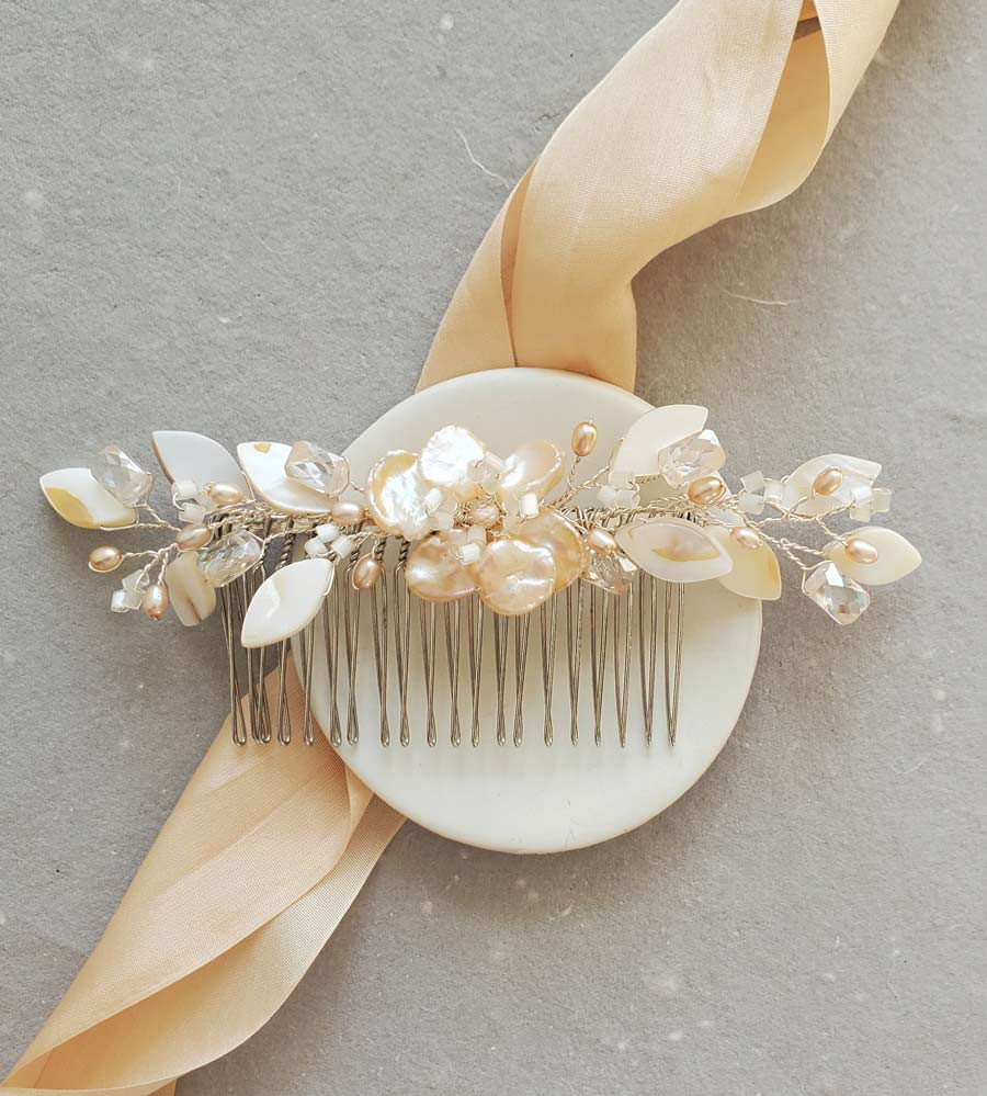 Peach pearl floral hair comb for bride handmade by Carrie Whelan Designs