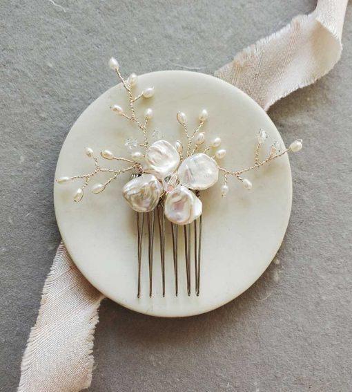 Handmade Keshi Pearl Bridal Hair Comb in silver handmade by Carrie Whelan Designs