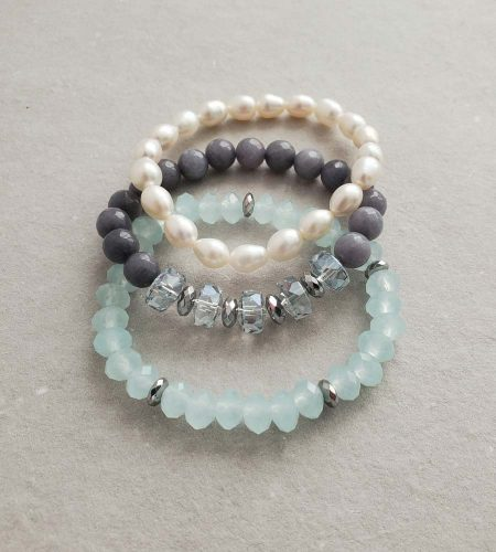 aqua blue & freshwater pearl stack bracelets handmade by Carrie Whelan Designs