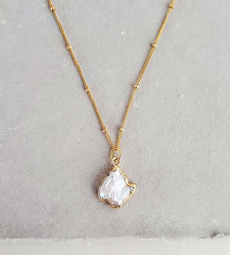 freeform pearl gold pendant necklace handmade by Carrie Whelan Designs