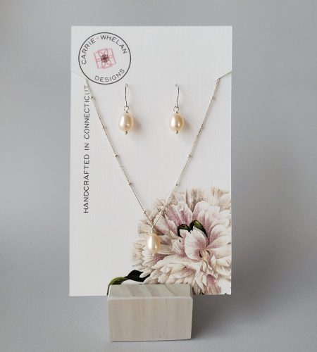 Handcrafted pink freshwater pearl pendant set by Carrie Whelan Designs