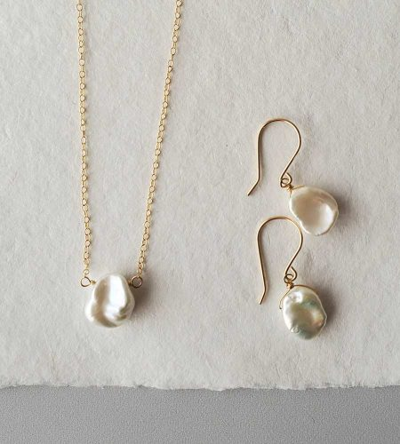 Keshi pearl choker handcrafted in gold by Carrie Whelan Designs
