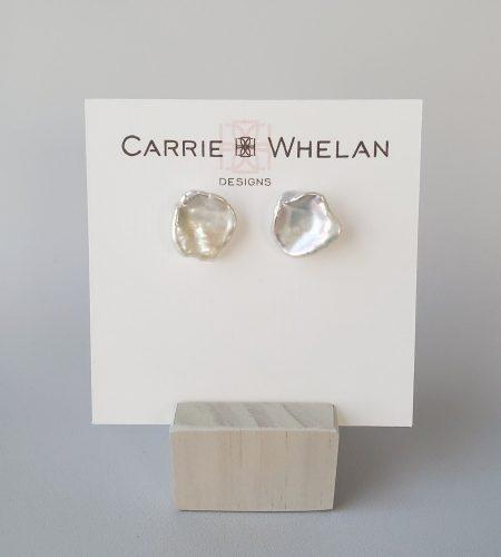 large keshi pearl stud earrings handcrafted by Carrie Whelan Designs