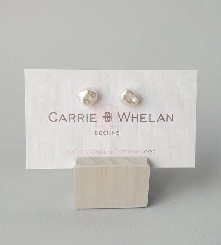 Petite keshi pearl studs in sterling silver by Carrie Whelan Designs