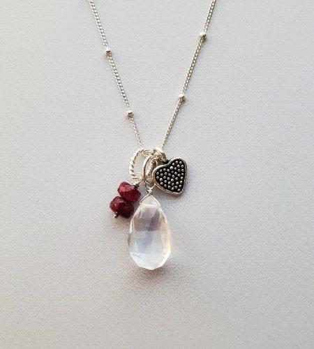 Quartz & Ruby gemstone cluster pendant handmade by Carrie Whelan Designs