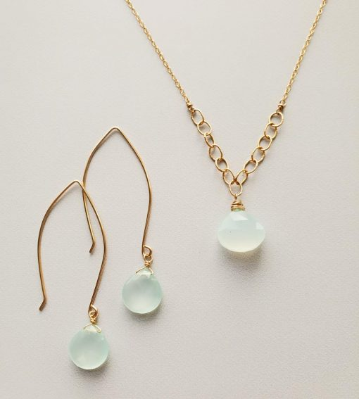 Aqua chalcedony and 14kt gold fill chain necklace and earrings by Carrie Whelan Designs