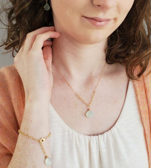aqua chalcedony and gold jewelry handcrafted by Carrie Whelan Designs
