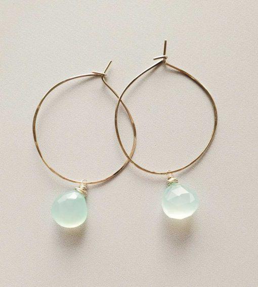 Aqua chalcedony hoop earrings handmade by Carrie Whelan Designs